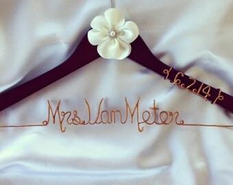 Custom Wire Wedding Hanger with Satin Flower