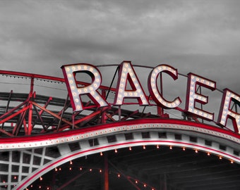 Racer Roller Coaster Photo, selective color HDR photograph, black, white, and red, fine photography prints, Racer