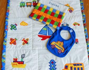 Machine Appliqued Baby Quilt Sets, baby quilt set, appliqued quilt set, embroidered quilt set, boys quilt set, monogramed quilt set