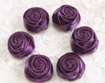 6 Handmade Rolled Roses (1-1/4 inches) in Amethyst  MY-159-90 Ready To Ship