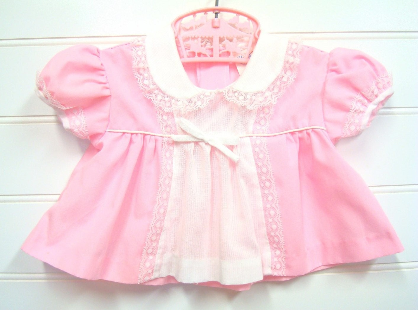 Vintage Baby Clothes Baby Girl Dress In Pink and White With