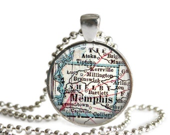 Memphis Tennessee map necklace pendant charm, Memphis map jewelry, Bridal Gift, Christmas Gift, Birthday Gift, Godmother Gift, A288