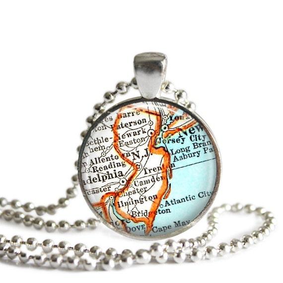 new jersey necklace pendant charm atlantic city map necklace