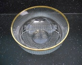 Vintage Cut Glass Serving Bowl with Gold Rim