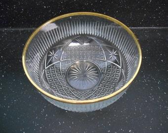 Cut Glass Serving Bowl,Glass Bowl,Vintage Serving Bowl,Gold Rimmed Serving Bowl,Vintage Wedding,Wedding Decor