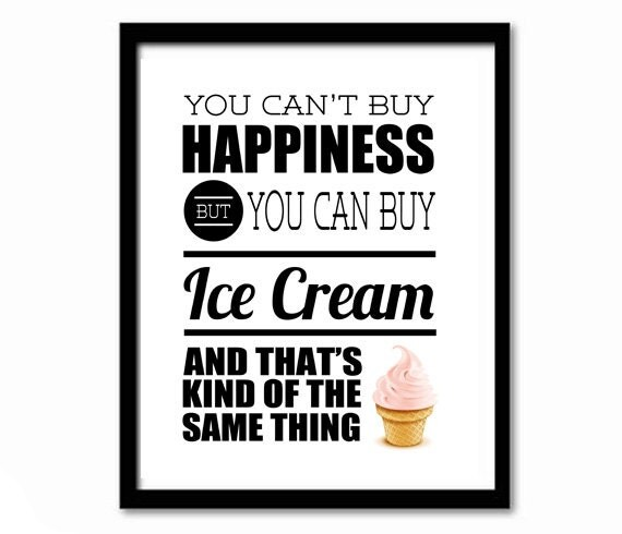 Items similar to You Can't Buy Happiness, Quirky Print ...