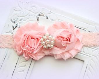 Shabby Flower Lace Headband Pearl & Rhinestone Center - Peach Baby Headband - Blush Pink Flower Headband - Baby Headband, Newborn Headband