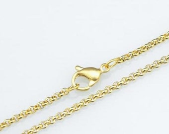 250pcs 16inch 2mm 316l stainless steel golden color