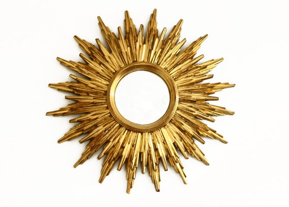 Vintage Sunburst Mirror Starburst Gold Convex Mirror