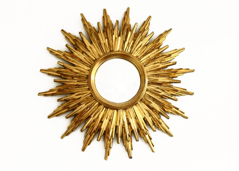 Vintage Sunburst Mirror Starburst Gold Convex Mirror