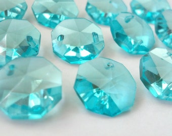 12 Antique Green Light Aqua Chandelier Crystal Beads Octagon Shabby Chic Prisms 14mm