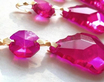 ONE Fuchsia French Cut 38mm Chandelier Crystals Hot Pink