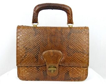 40s Snake Skin Purse // Mini Reptile Briefcase // 1940s 50s