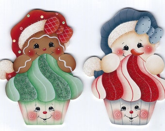 Christmas Cupcakes Snowman and Gingerbread Painting E-Pattern