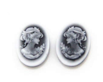 6 pcs or 3 pairs of resin cameo top high quality vintage cameo 10x14mm-0351-3 left  3 right