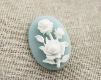 6 pcs of resin rose cabochon cameo 18x25mm-white on light blue