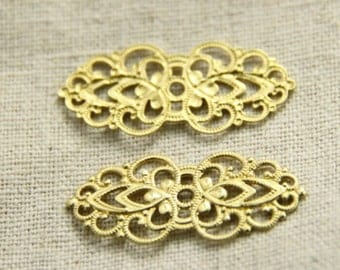 12 pcs of brass filigree charm pendant connector-32x15mm-1608-raw brass