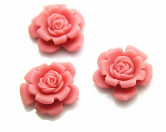 6 pcs of resin red rose cabochon  22mm  pink