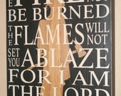 Firefighter Faith, Firefighter Bible Verse, Firefighter Sign, Firefighter Decor, Distressed Wood Sign - Isaiah 43:2 W/ Silhouette - 17""