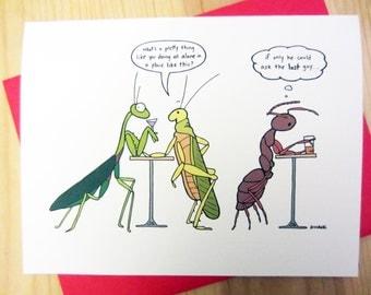 Love Greeting Card: Praying Mantis Cartoon