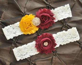 SALE Wedding Garter, Bridal Garter Set - White Lace Garter, Keepsake Garter, Toss Garter, Maroon Garter, Gold Garter, Florida State Garter