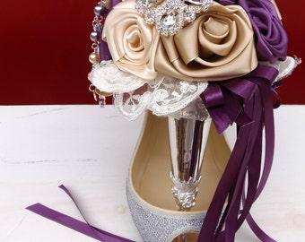 Silver Tussie Mussie Holder Satin Rose Brooch Bouquet