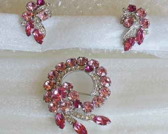 Vintage Style Brooch (pin-on) with Pink and Clear Crystals and Matching Earrings (clip-on)