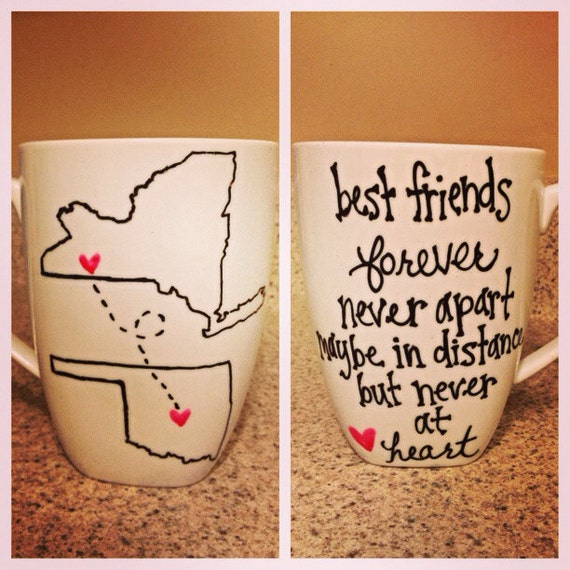 Long Distance State Or Country Friends Couple Mugs Set Of Two