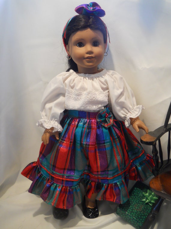 items similar to festive traditional christmas skirt set for american girl doll josefina by. Black Bedroom Furniture Sets. Home Design Ideas