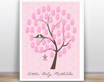 Thumbprint Tree Guest Book Baby Shower (PDF),  Pink, birds, birdcage. Custom text, color and size included