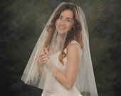 Drop Wedding Veil Elbow Circular Bridal Veil Light Ivory 26 front 30 back Off White Blusher Veil Ivory Traditional Illusion Tulle
