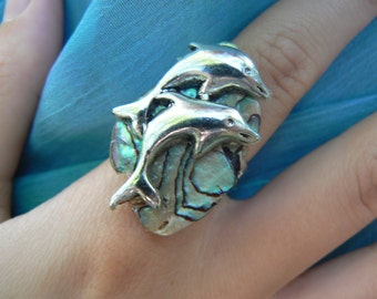 dolphin abalone ring dolphins abalone nautical boho gypsy cruise wear beach resort wear  high fashion gypsy hipster