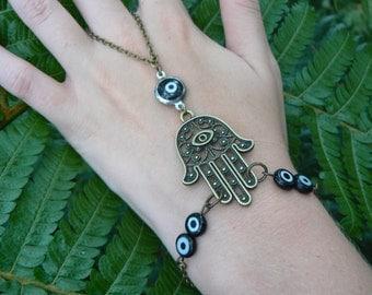 evil eye hamsa slave bracelet ONE bracelet brass black evil eyes Fatima protection Indie Fusion Belly dancer Moroccan gypsy boho hipster