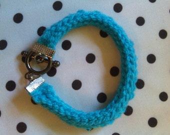 Hand Knit Blue I-Cord Bracelet