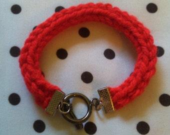 Hand Knit Red I-Cord Bracelet