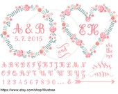 Floral frames, monogram, initial wreath, abc, digital clipart, scrapbooking, wedding invitatation, commercial use, PNG, EPS, SVG, download
