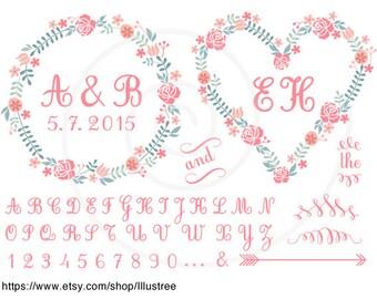 Red heart wedding tree invitation printable Valentine's