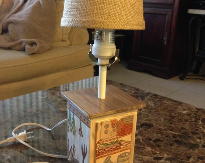 Wood Base Lamp - Burlap Shade - Garden Shed Scenes Painted all around
