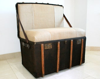 Upcycled Steamer Trunk Chairs bespoke seating alternative hand crafted using vintage steamer trunks and vintage grain sack material