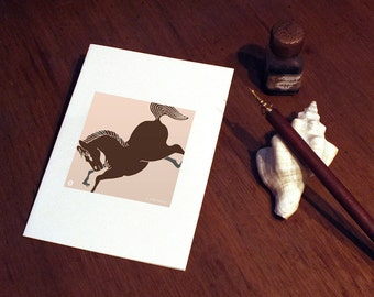 Greeting Card: Japan Modern - abare uma, wild horse - cherry blossom pink