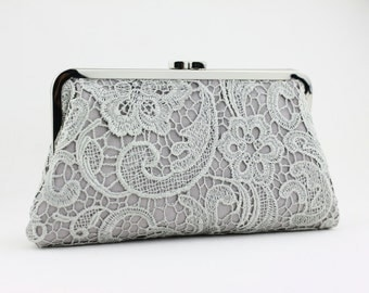 Grey Lace Bridal Clutch / Wedding Purse / Bridal Purse / Bridesmaid Purse Clutch