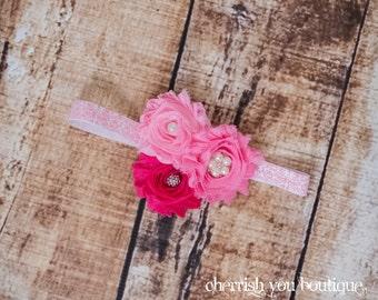the Whitney - Chiffon Flower Headband - Pink Flower Headband - Vintage Chic Headband - Perfect Photo Prop