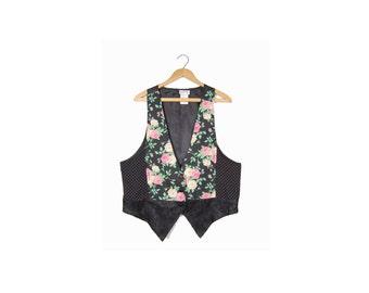 Large Floral Vest // Black and Pink Floral Print 90s Grunge Vest // Black 90s Floral Vest // A62