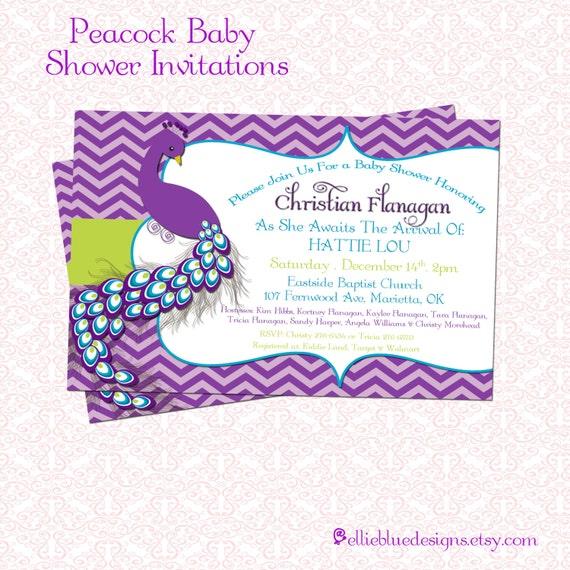 diy printable peacock baby shower invitation
