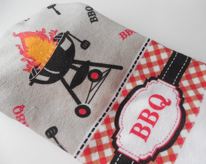 BBQ Kitchen Towel -  Hanging Towel - Crochet Top - Grilling Towel - Outdoor Cooking -  Handmade Crochet - Made to Order