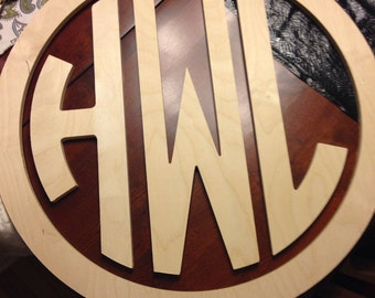 "30"" Wooden Monogram- Circle Monogram with Border"