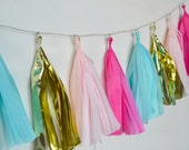 Pink, Aqua and Gold Tissue Tassel Garland - One Stylish Party