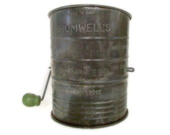 Vintage Bromwell Flour Sifter Metal with Green Wooden Handle Tin Sifter