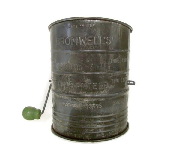 Vintage Bromwell Flour Sifter Metal With Green Wooden Handle
