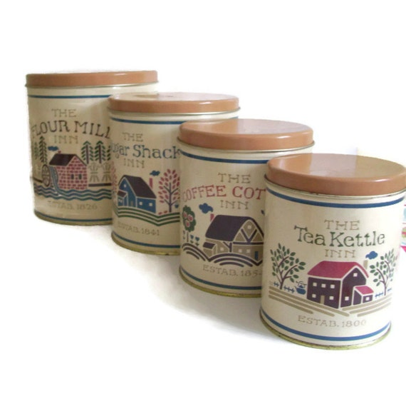 Vintage Kitchen Canister Set Tin Ballonoff Set Of 4 The